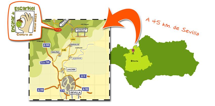 Campamento de verano en Encinar de Escardiel plano para llegar |Sevilla con los peques