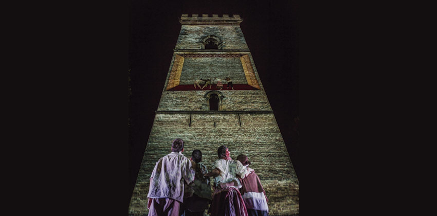 Los niños de Murillo un espectáculo de danza y vídeo mapping persepectiva con bailarines dewsde abajo |Sevilla con los peques