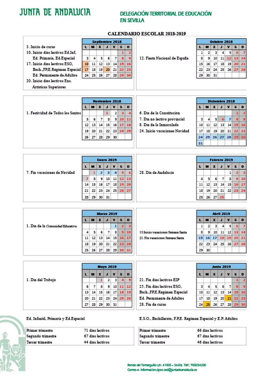 Calendario escolar de Sevilla para el curso del 2018/2019 01 | Sevilla con los peques